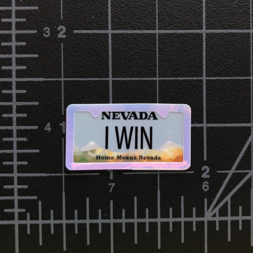 I WIN - RC Swag - Custom Miniature License Plate with License Plate Frame Embellishment