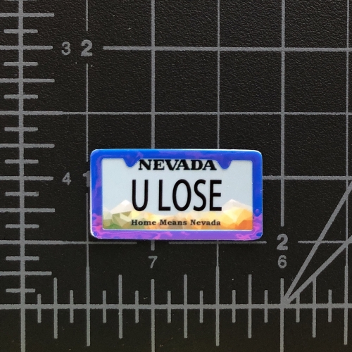 U LOSE - RC Swag - Custom Miniature License Plate with License Plate Frame Embellishment