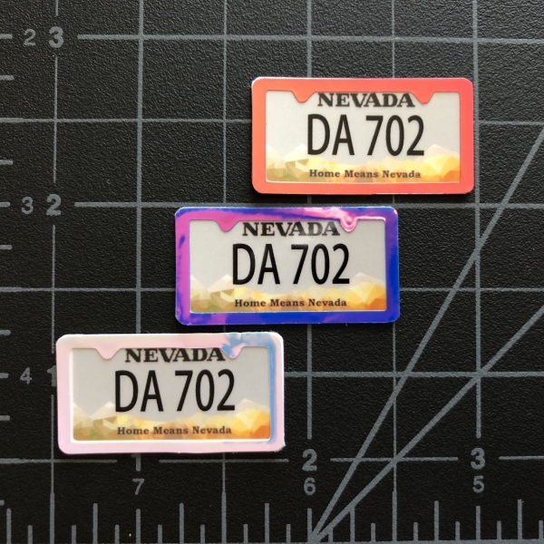 license plate frames in red, white & blue color changing chrome