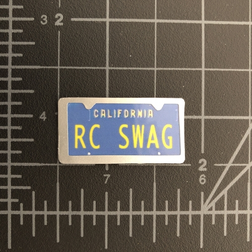 Custom Miniature California (blue & yellow) License Plate with Silver License Plate Frame Embellishment