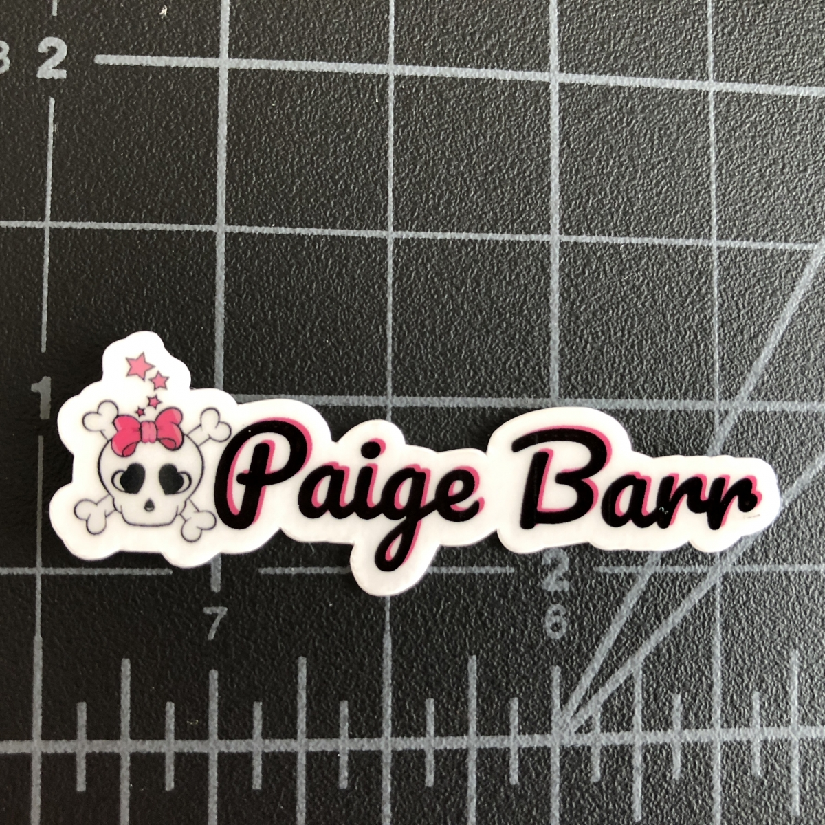 Name Stickers with with Pink Bow Skull