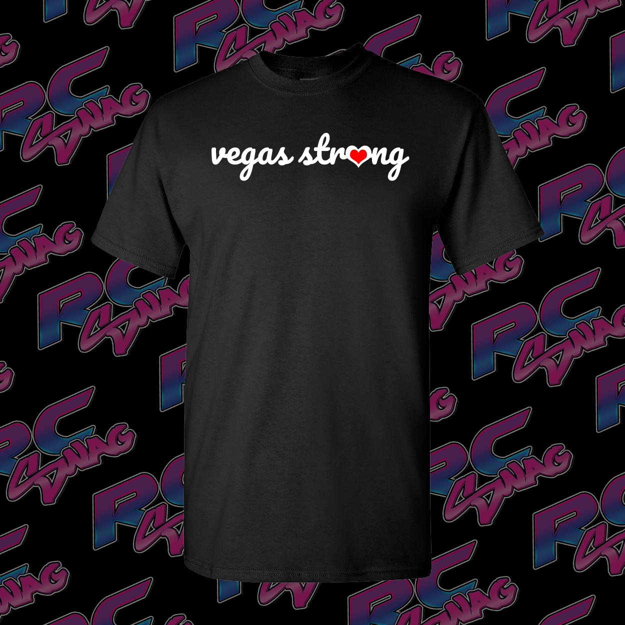 Vegas Strong with Red Heart O - Black Shirt - RC Swag