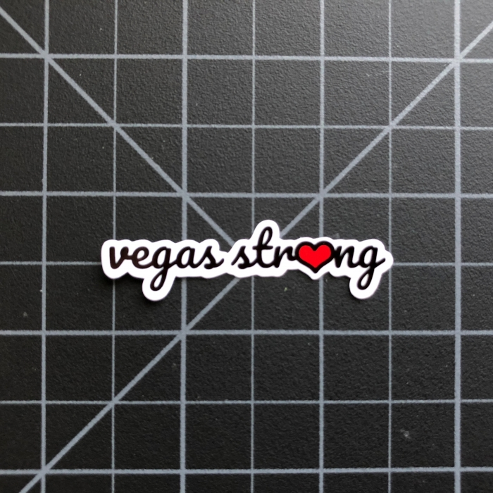 Vegas Strong with Red Heart O Sticker - Las Vegas Stickers RC SWAG